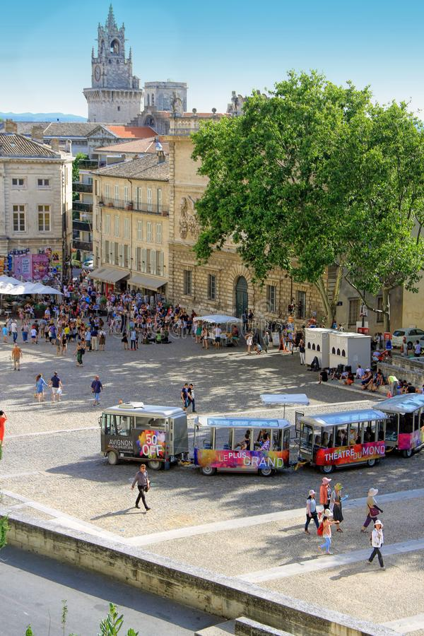 Avignon Theatre Festival. AVIGNON, FRANCE – JULY 04, 2015: the tourist train advertising the famous theatre festival in Avignon - the most stock images