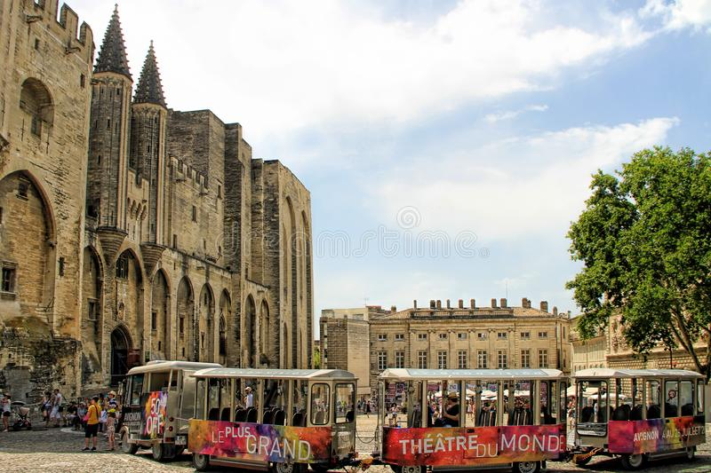 Avignon Theatre Festival. AVIGNON, FRANCE – JULY 05, 2015: the tourist train advertising the famous theatre festival in Avignon - the most stock photo