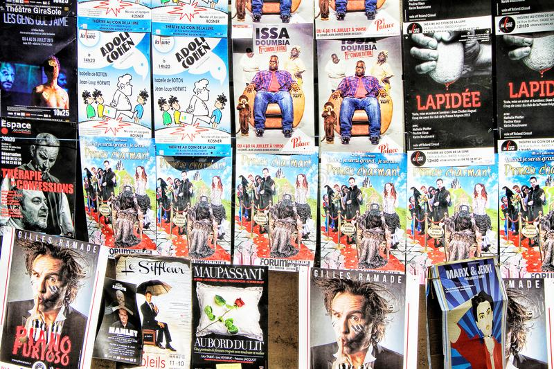 Avignon Theatre Festival. AVIGNON, FRANCE – JULY 05, 2015: plenty of playbills on a wall during famous theatre festival from July 03 to 27 2014 in Avignon royalty free stock photography