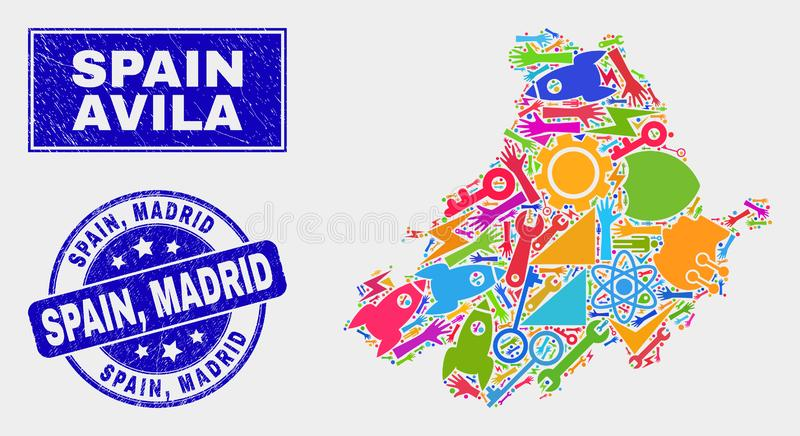 Avila εργαλείων κολάζ χάρτης και Grunge υδατόσημο της Ισπανίας, Μαδρίτη επαρχιών διανυσματική απεικόνιση