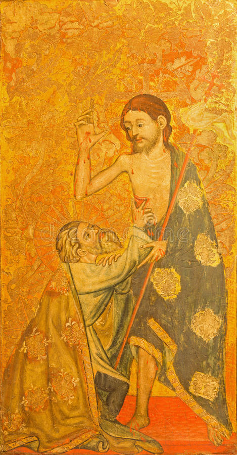 AVILA, ΙΣΠΑΝΙΑ: Duda de Santo Tomas Λα - η αμφιβολία της ζωγραφικής του ST Thomas στο ξύλο Catedral de Cristo Σαλβαδόρ στοκ εικόνα με δικαίωμα ελεύθερης χρήσης