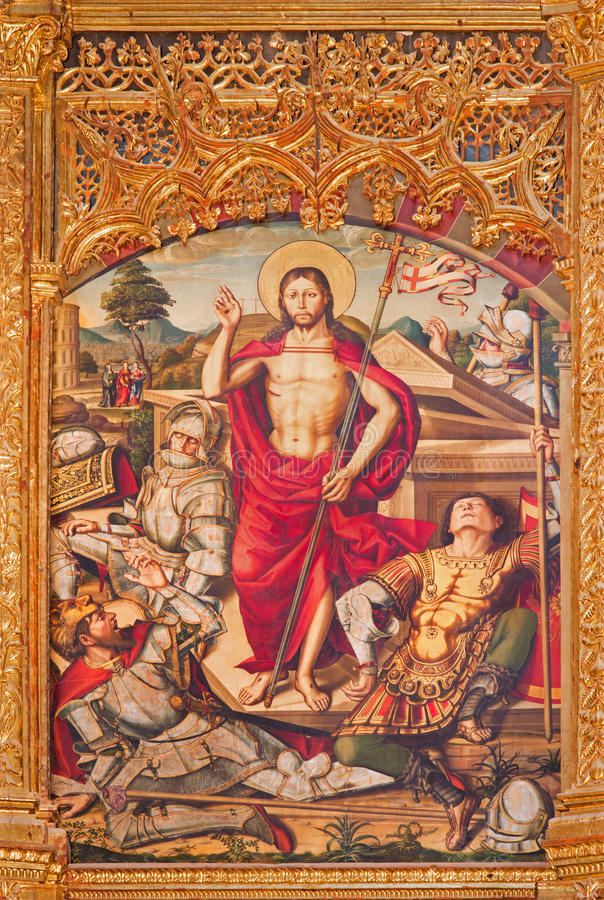 AVILA, ESPAGNE, 2016 : Le paintig de la résurrection sur l'autel principal de Catedral de Cristo Salvador par Pedro Berruguete photographie stock