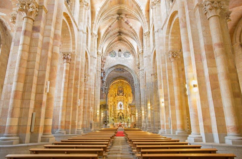 AVILA, SPAIN, APRIL - 19, 2016: The nave of Basilica de San Vicente.  royalty free stock photos