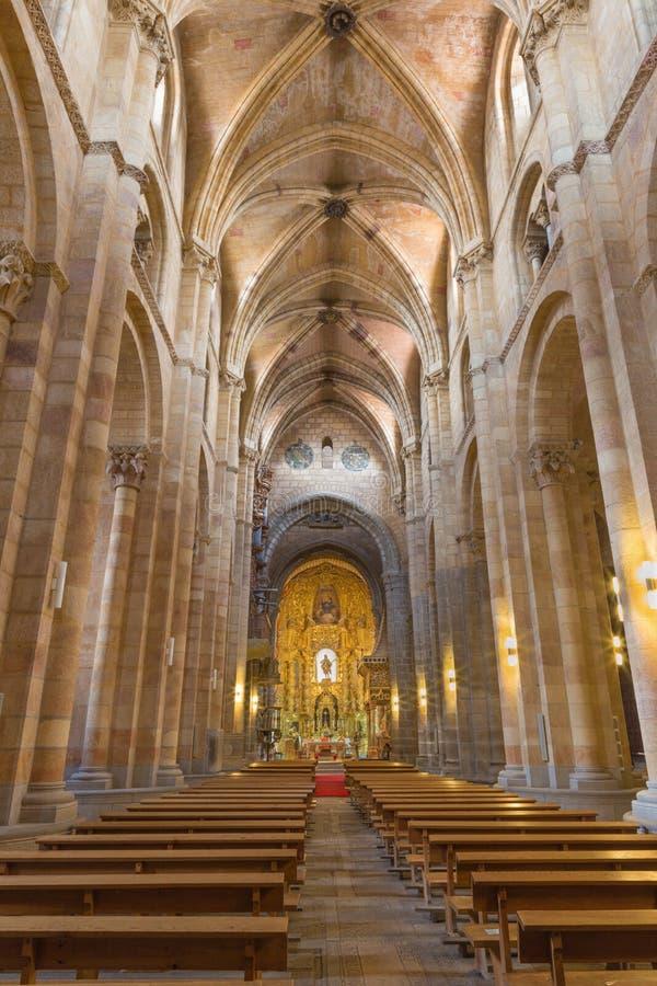 AVILA, SPAIN, APRIL - 19, 2016: The nave of Basilica de San Vicente. AVILA, SPAIN, APRIL - 19, 2016: The nave of Basilica de San Vicente royalty free stock photography
