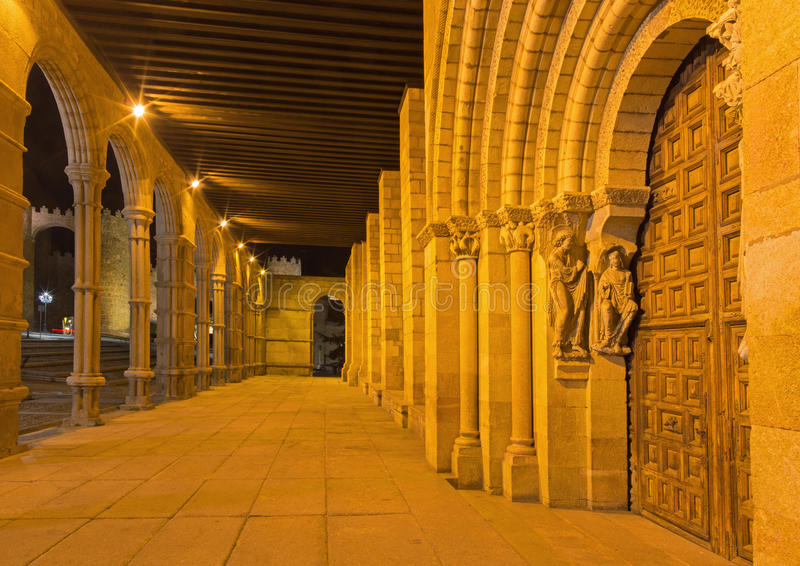 AVILA, SPAIN, APRIL - 19, 2016: The portico and romanesque south portal of Basilica de San Vicente with the apostles 1130.  royalty free stock images