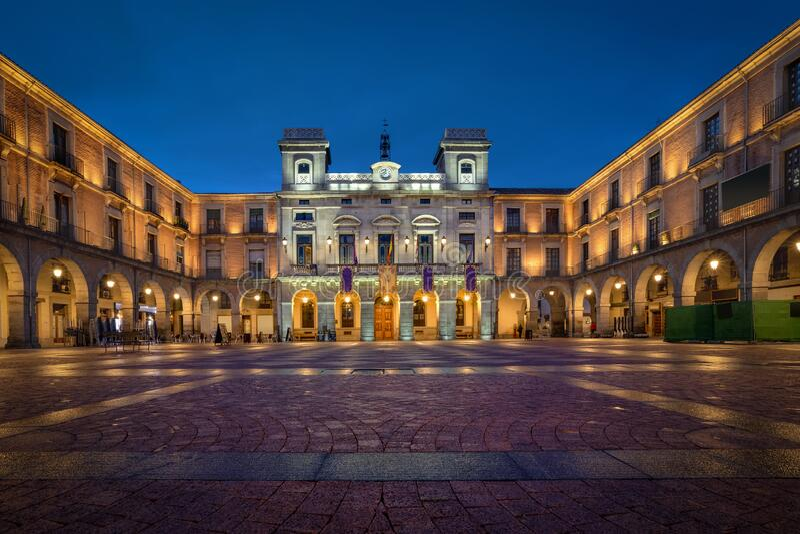 Avila, Spain. Historic Town Hall at dusk royalty free stock photos