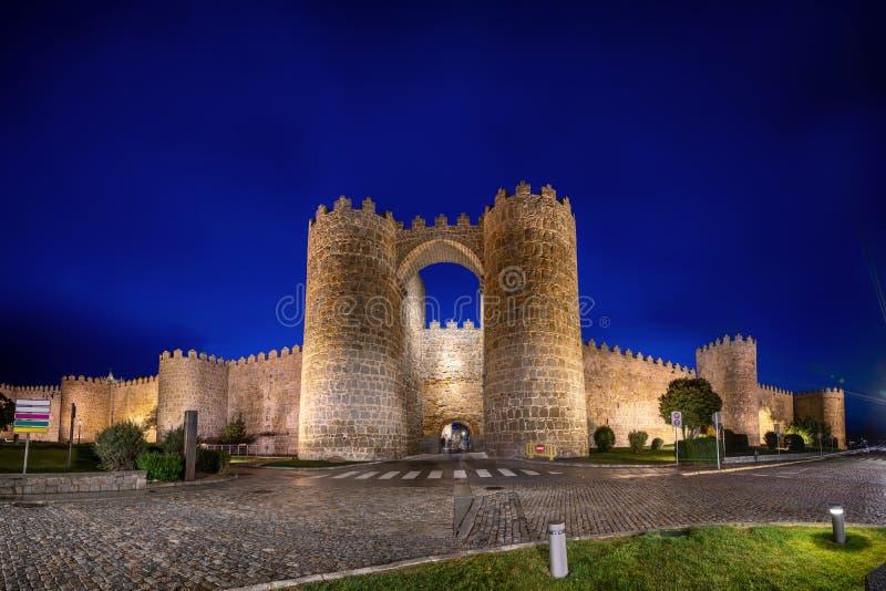 Avila, Spain. View of historic city gate Puerta de San Vicente stock photos