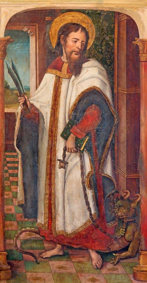 AVILA, SPANIEN: Farbe von Christus mit der zweischneidigen Klinge nach Apocalypse von Johannes in Catedral de Cristo Salvador lizenzfreie stockfotos