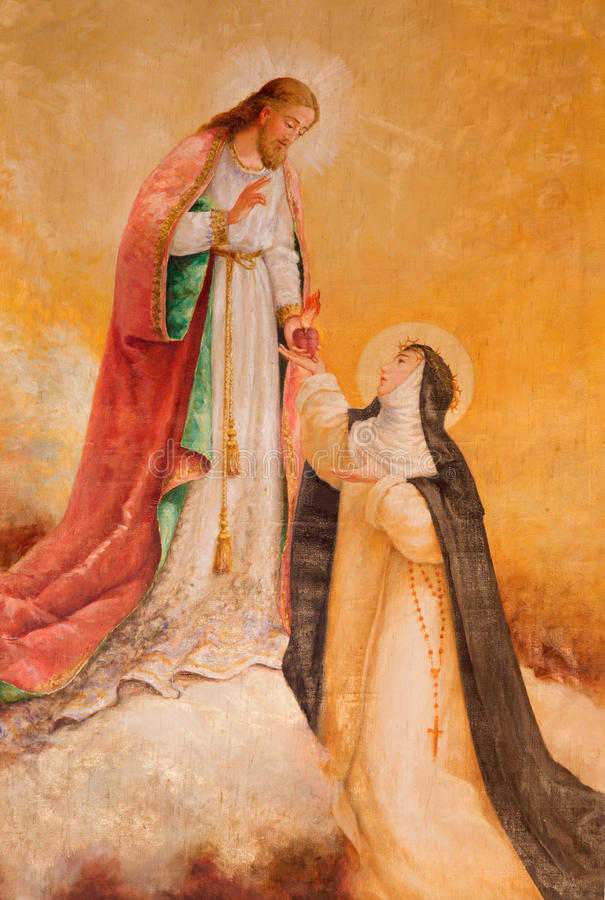 AVILA SPANIEN: Syn av Jesus till St Theresia av Avila i kyrka av den verkliga monasterioen de Santo Tomas royaltyfri foto