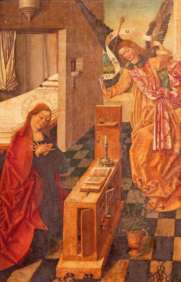 AVILA, SPANJE, 2016: Aankondiging het schilderen door Garcia del Barco & x28; 1496& x29; in Catedral DE Cristo Salvador stock foto