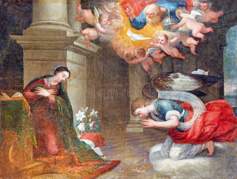 AVILA, SPANJE, 2016: Aankondiging het schilderen in kerk van Echte monasterio DE Santo Tomas door onbekende kunstenaar van 16 cen royalty-vrije stock foto's