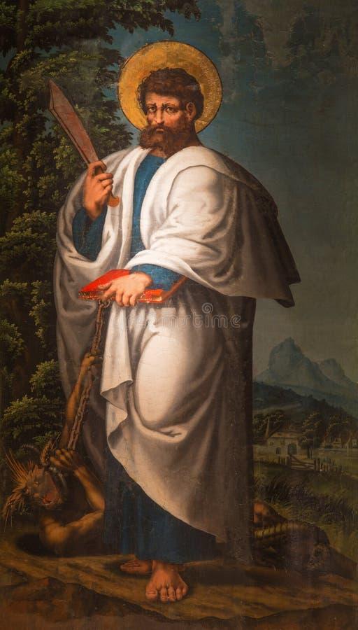 AVILA, SPANJE, APRIL - 18, 2016: De Heilige Bartholomew de apostel die in Catedral DE Cristo Salvador door onbekende kunstenaar s royalty-vrije stock afbeeldingen