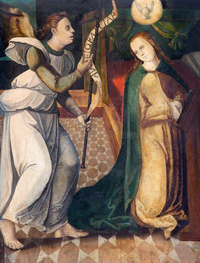 AVILA, SPANJE, APRIL - 18, 2016: Het schilderen van aankondiging door onbekende kunstenaar 15 cent in Cathedral DE Cristo Salvado stock foto's