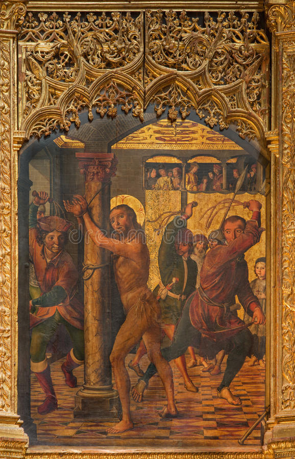 AVILA, SPANJE, APRIL - 18, 2016: Het schilderen van de Flagellatie op het belangrijkste altaar van Catedral DE Cristo Salvador do stock afbeelding
