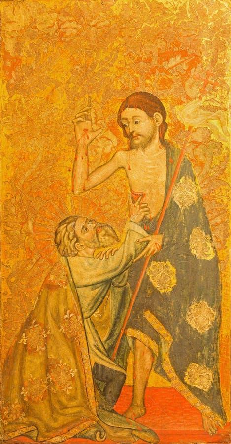 AVILA, SPANJE: La-duda DE Santo Tomas - de Twijfel van St Thomas het schilderen op het hout in Catedral DE Cristo Salvador royalty-vrije stock afbeelding