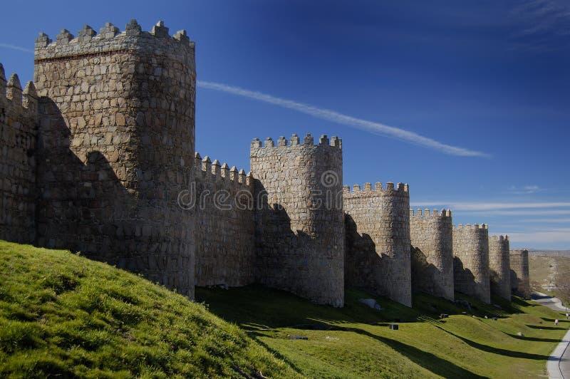 Avila, Spanje, muur en torens stock afbeelding
