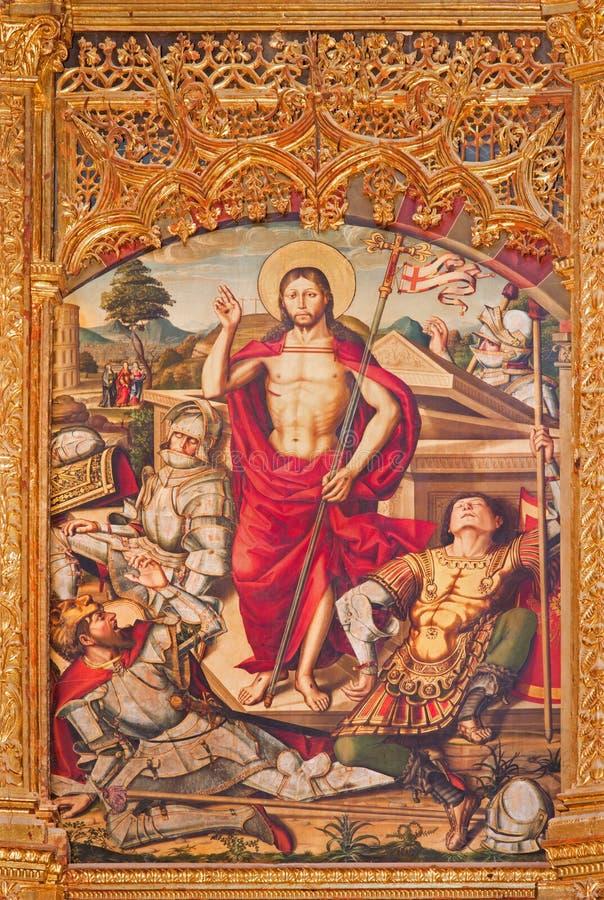 AVILA, SPANJE, 2016: Paintig van de Verrijzenis op het belangrijkste altaar van Catedral DE Cristo Salvador door Pedro Berruguete stock fotografie