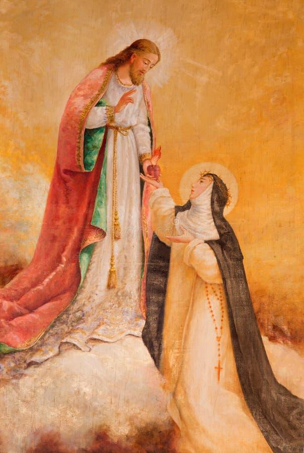 AVILA, SPANJE: Verschijning van Jesus aan St Theresia van Avila in kerk van Echte monasterio DE Santo Tomas royalty-vrije stock foto