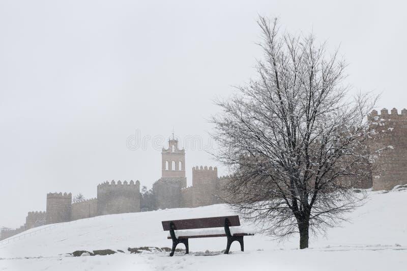 Avila Wall In Winter Stock Photo