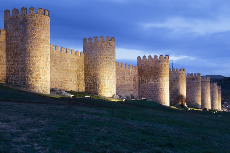 Download Avila walls at night stock photo. Image of province, castilla - 28259986