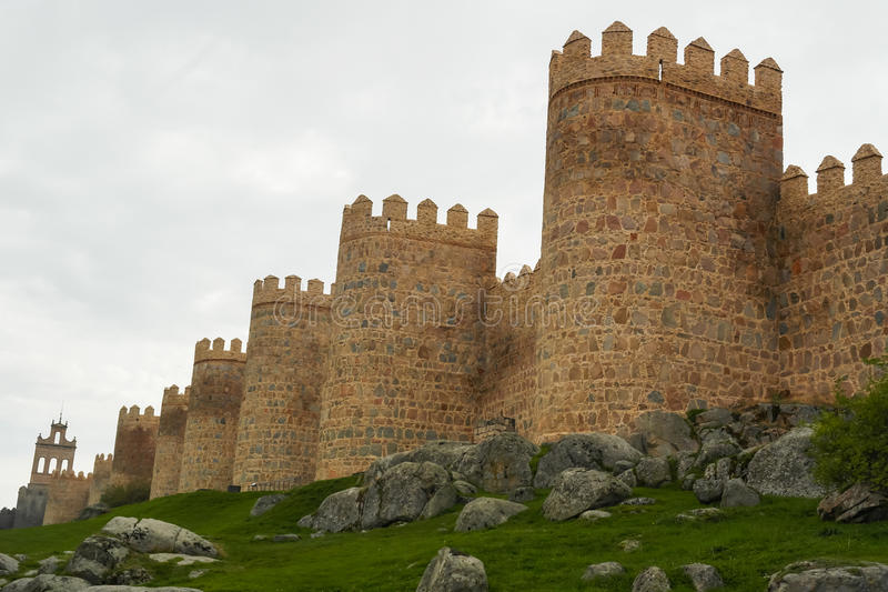 Avila walls, Spain. Walls of fortified city Avila in Spain stock photography