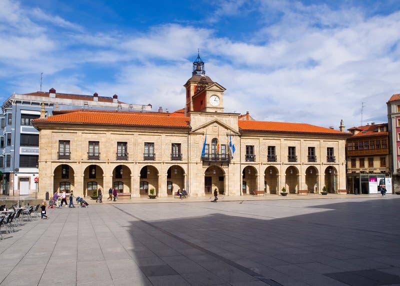 Aviles-Rathausgebäude, Asturien, Spanien. lizenzfreie stockfotos