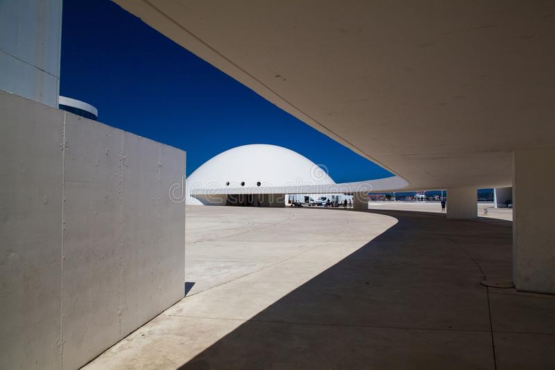 View of Niemeyer Center building in Aviles, Spain. Aviles, Spain - July 4,2017: View of Niemeyer Center building in Aviles. The cultural center was designed by stock photography