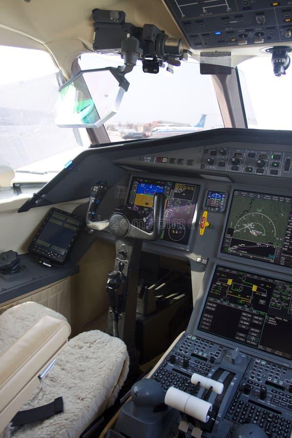avion à réaction de carlingue d'affaires image stock