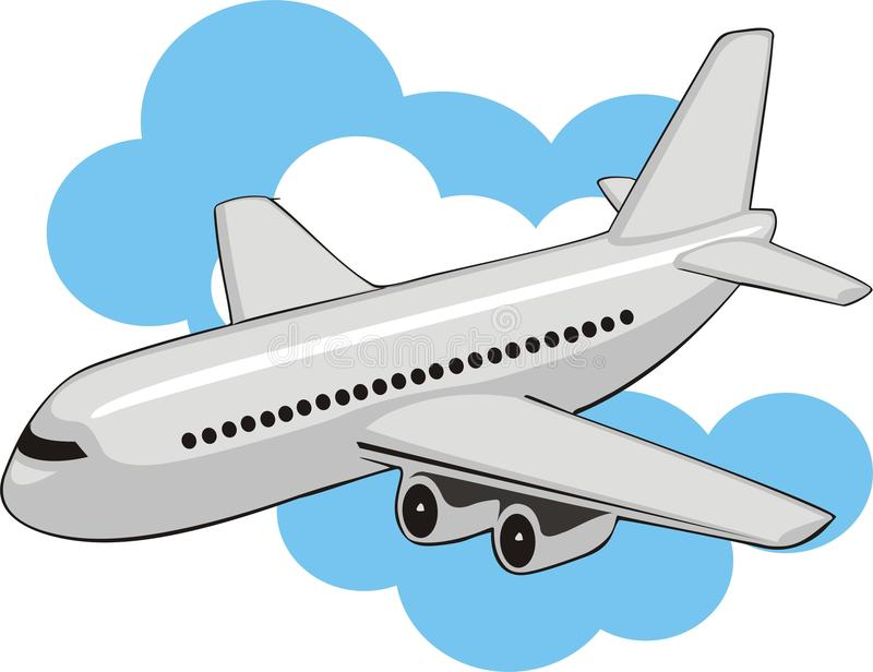 Avion à réaction en nuages illustration de vecteur