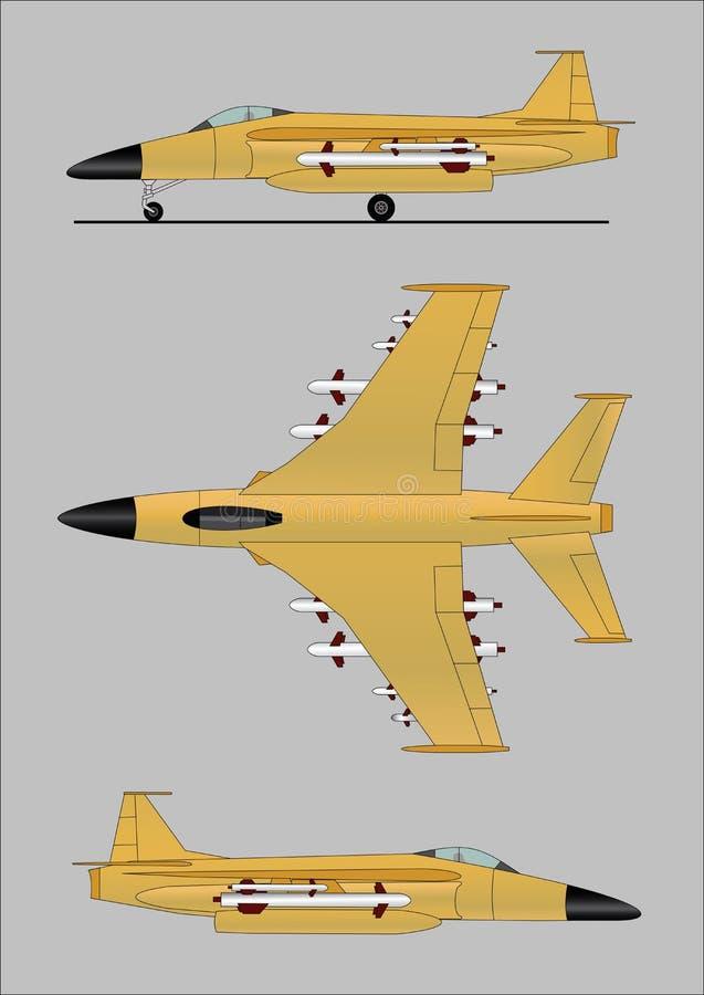 Avion à réaction militaire illustration de vecteur