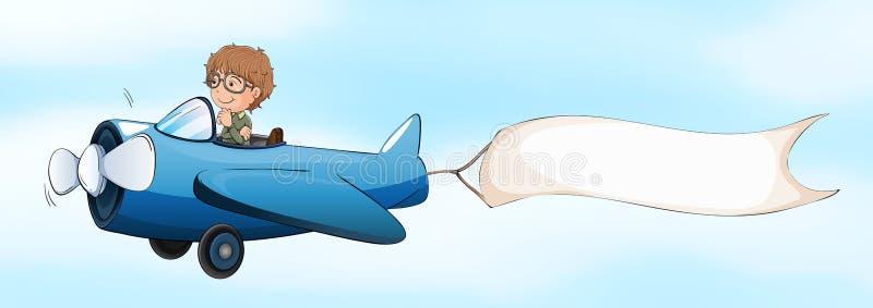 Avion à réaction pilote de vol avec la bannière blanche illustration libre de droits