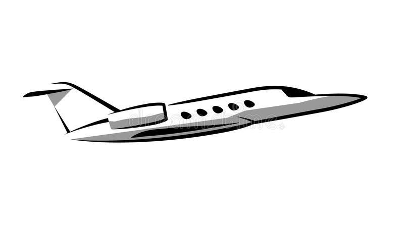 Avion à réaction privé de découpe simple de symbole illustration stock
