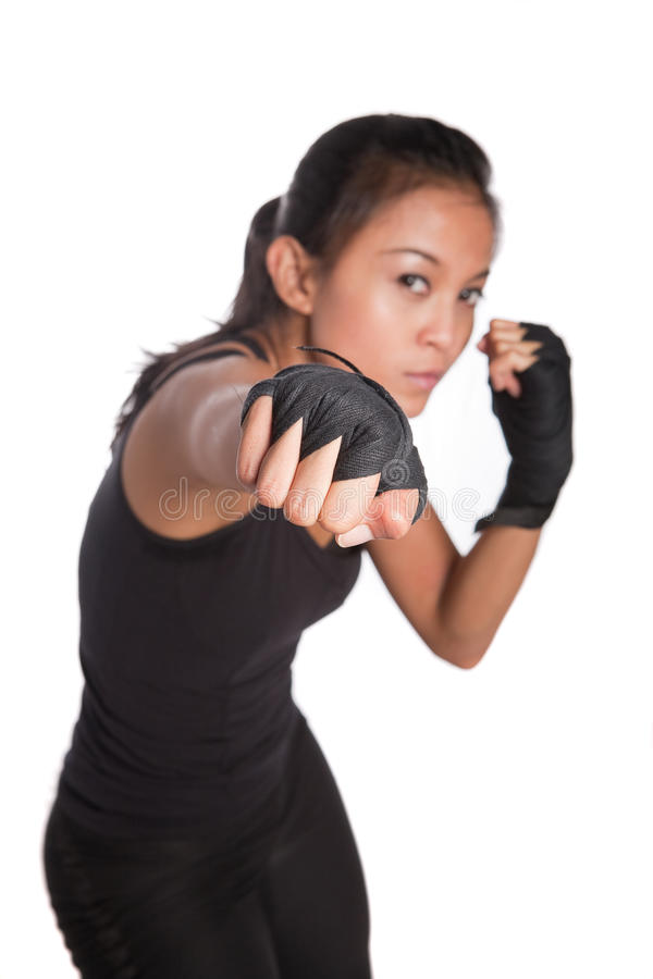 Avion-école de forme physique de jeune femme dans la pose de combat photo libre de droits