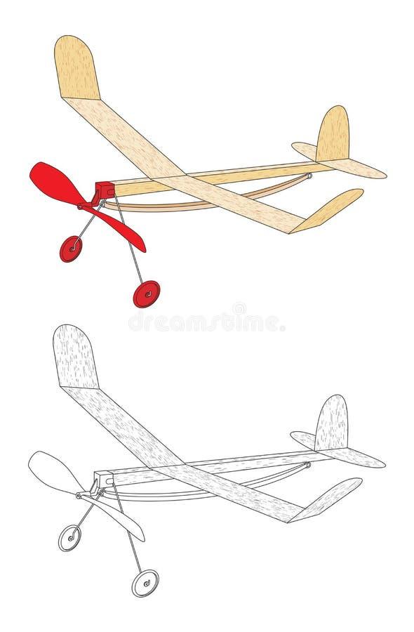 Avion actionné d'une bande élastique illustration de vecteur