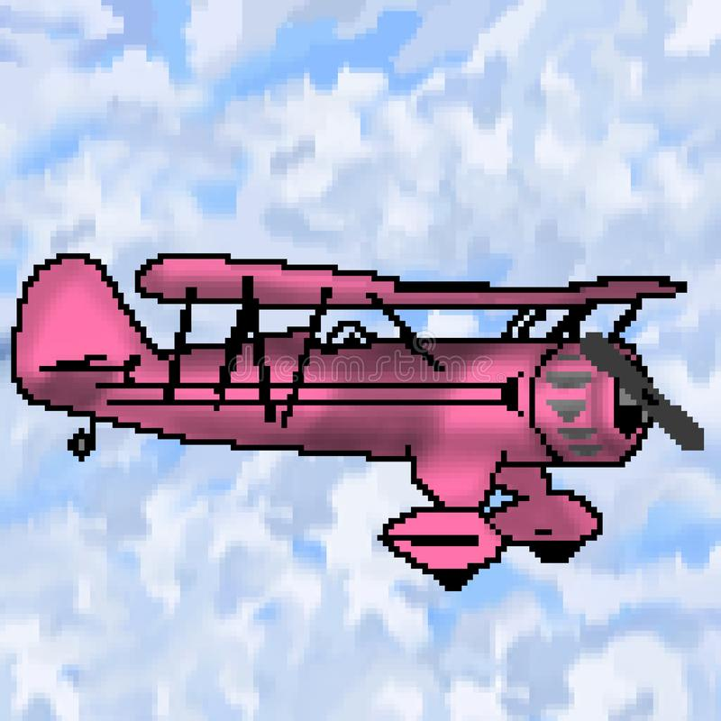 Avion antique tiré de bit du pixel 8 avec le ciel nuageux multicolore illustration de vecteur