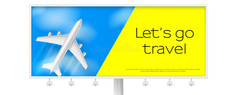 Avion argenté en ciel bleu avec des nuages Panneau d'affichage avec l'avion de vol sur le fond bleu Concept de la publicité à deu illustration stock