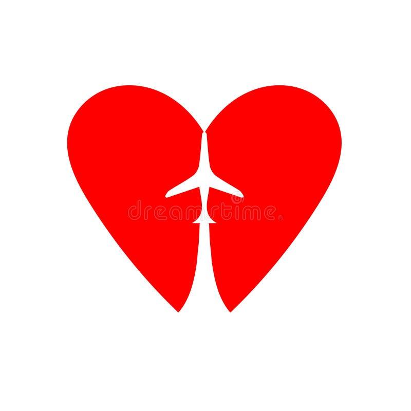 Avion au coeur Illustration tir?e par la main de vecteur d'isolement sur le blanc, logo, conception de T-shirt illustration libre de droits