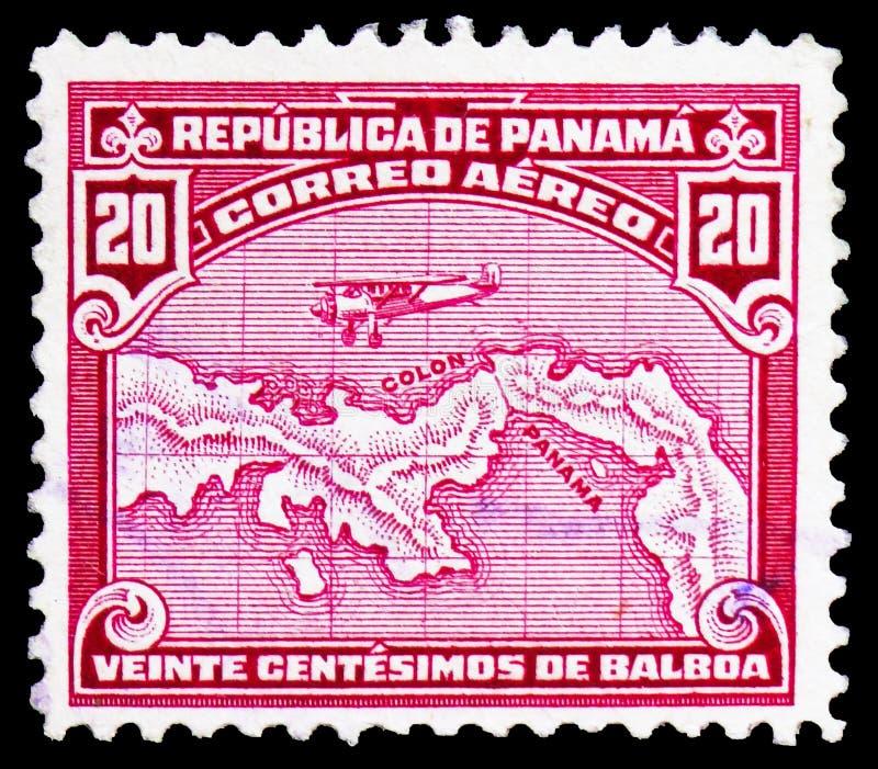 Avion au-dessus de carte du Panama, serie de la poste aérienne, vers 1930 photos libres de droits