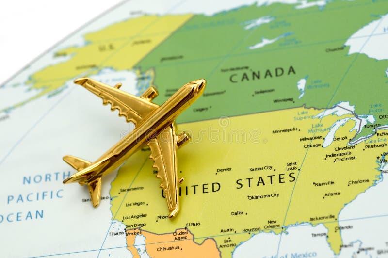 Avion au-dessus de l'Amérique du Nord photo stock