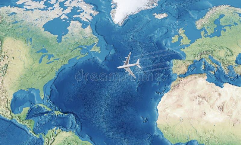 Avion au-dessus de l'Océan Atlantique photographie stock libre de droits