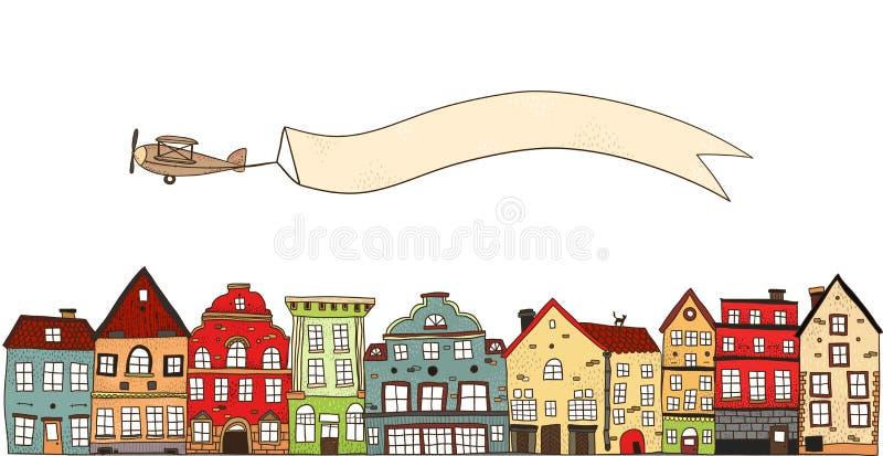 Avion au-dessus de la composition en ville illustration stock