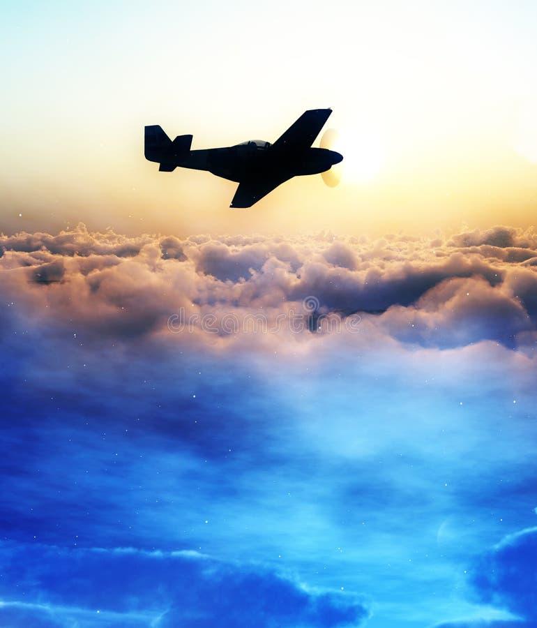Avion au-dessus des nuages 3 illustration stock