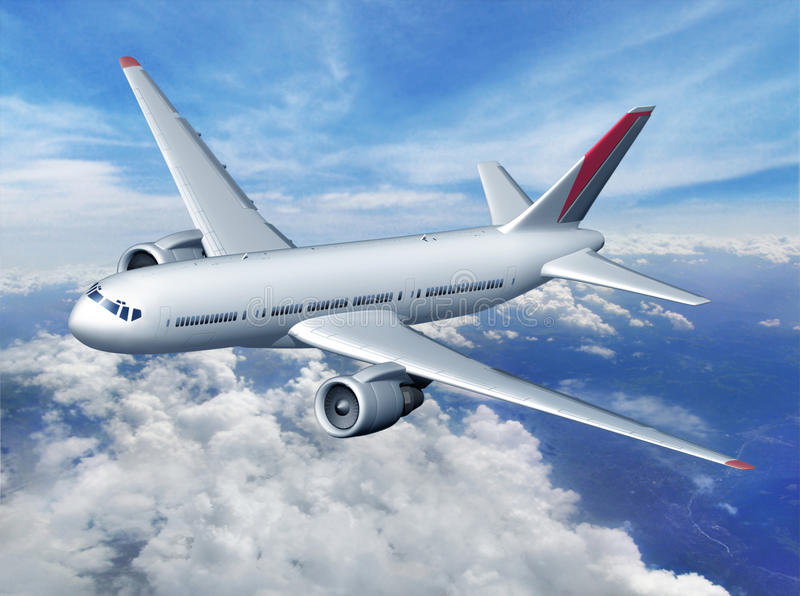 Avion au-dessus des nuages images libres de droits