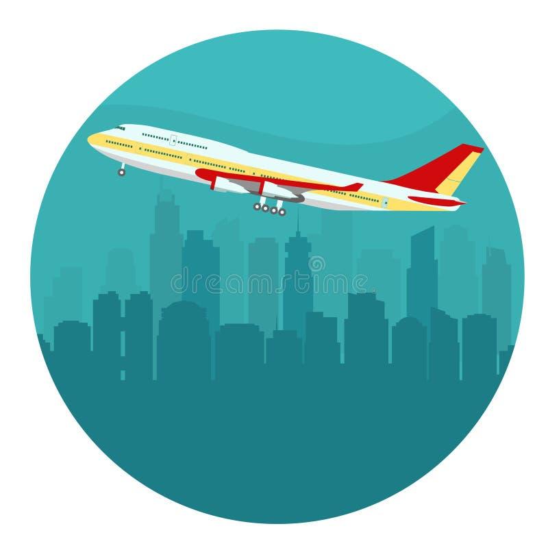 Avion au-dessus du paysage urbain Vecteur illustration libre de droits
