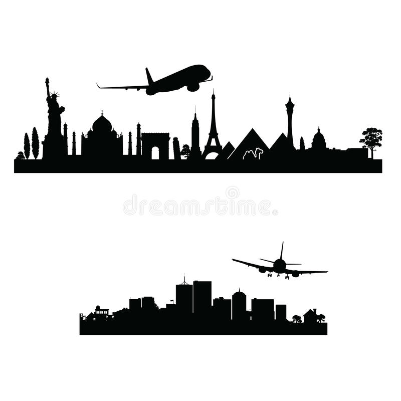 Avion au-dessus du vecteur de ville illustration libre de droits