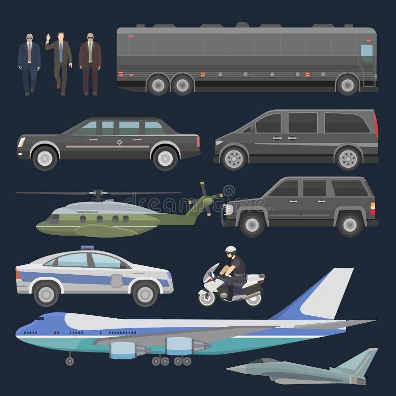 Avion automatique présidentiel de vecteur de voiture de gouvernement et transport de luxe d'affaires avec l'ensemble d'illustrati illustration libre de droits