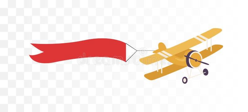 Avion avec la bannière de ruban illustration de vecteur