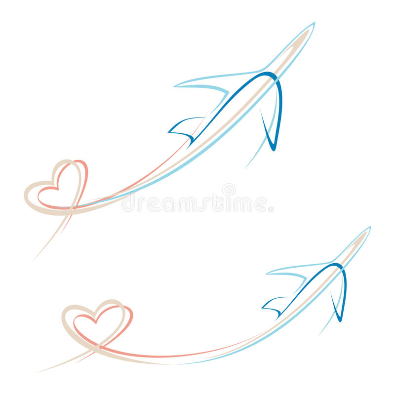 Avion avec la trace de forme de coeur illustration libre de droits