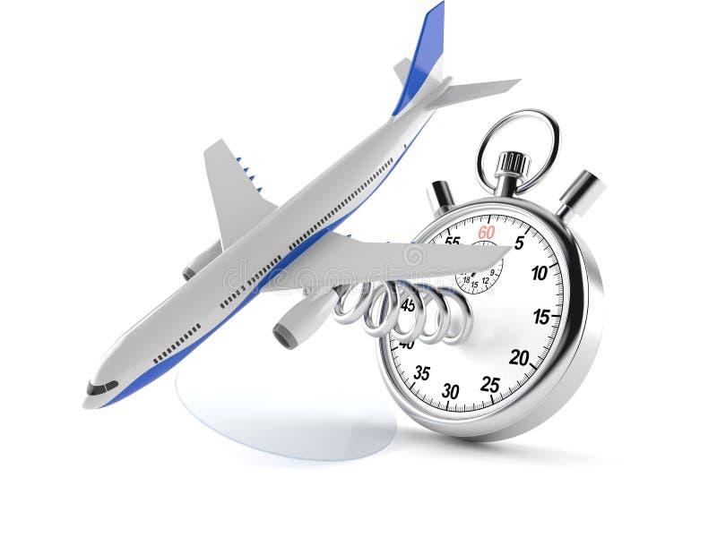 Avion avec le chronomètre illustration stock