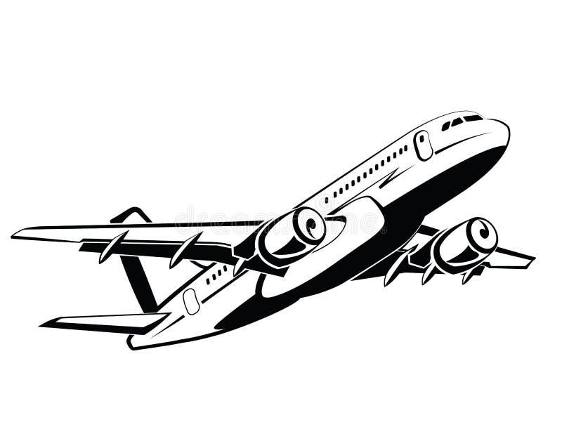Avion, avion sur le décollage, avion de passagers airlines Aéroport et transport de voyage Affaires et classe touriste Symbole illustration de vecteur